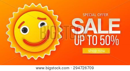 Summer Sale Yellow And Orange Banner. Paper Art Cut Out Styled. Smile Sun Cute Character Design. Dis