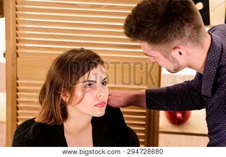 A Couple Is Genuinely Serious About Dating. Couple In Love Conducting Affair At Work. Romantic Coupl
