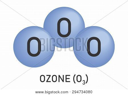 Illustration of the Ozone molecular formula on white background poster