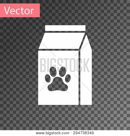 White Bag Of Food For Pet Icon Isolated On Transparent Background. Food For Animals. Pet Food Packag