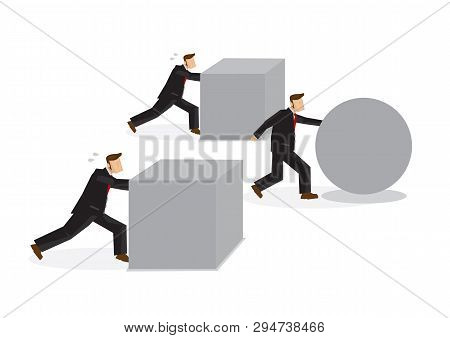 Clever Businessman Pushing Sphere While The Others Are Pushing Boxes. Concept Of Innovation Or Effic