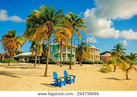 Little Cayman, Cayman Islands, Nov 2018, Colorful Caribbean-style Buildings On South Hole Sound