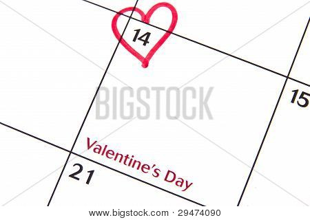 Valentine's Day On A Calendar