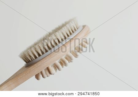 Brush For Anti Cellulite Treatment. Beauty Tool For Self Massage In A Bath Or Shower