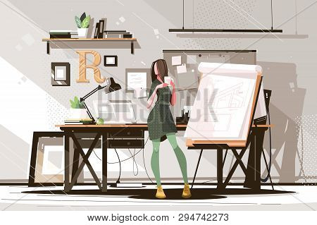 Girl Architect Working On Project Vector Illustration