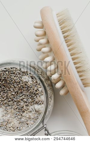 Wooden Brush For Dry Anticellulite Massage And Lavender Body Scrub. Body Care And Spa Treatment