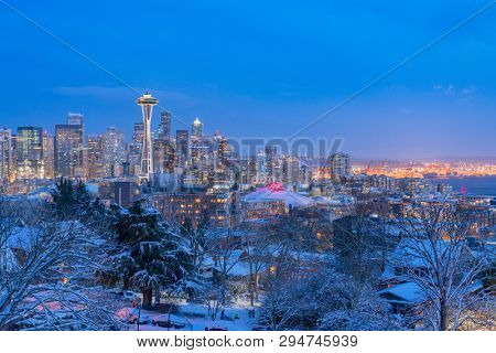 skyline of seattle at night, in winter.