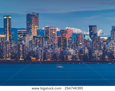 skyline of vancouver at night, canada.