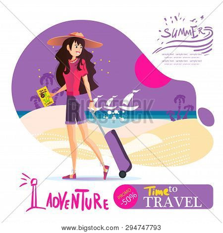 Young Girl With A Suitcase In A Hat Travels Around The World.travel Vacation Concept
