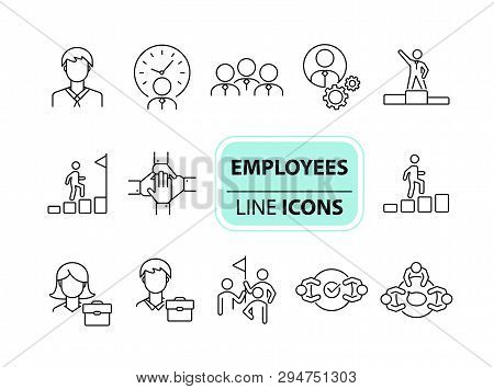 Employees Icons. Line Icons Collection On White Background. Cooperation, Negotiation, Career. Busine