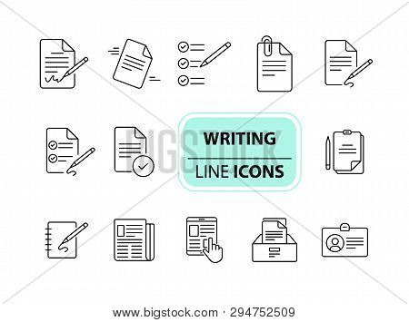Writing Icons Simple Icons Collection On White Background. Notes, Laptop, Newsletter, Notepad. Docum