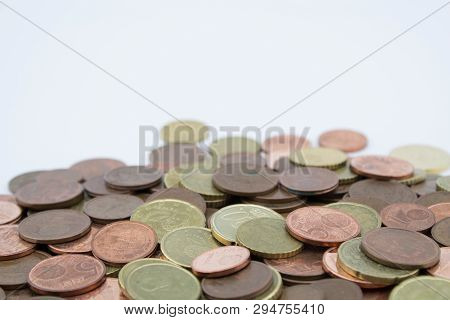 Coins Of Euro Cents Of Small Value On White Background.