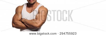 Cropped Horizontal Image White Panoramic Background Tanned Muscular Build Athletic Man Millennial Gu