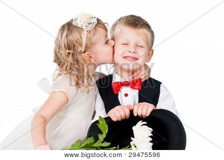 Little Gentlemen And Lady Kissing Isolated On White