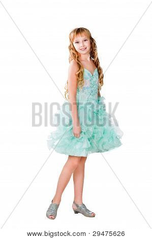Pretty teen girl in evening dress isolated on white background