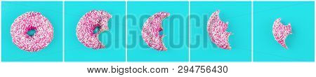 Eaten Donut With Pink Icing Isolated On White Background.. Top View.
