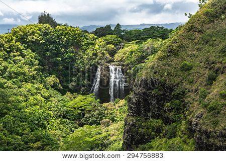 Opaekaa Falls In Wailua State Park, Kauai, Hawaii