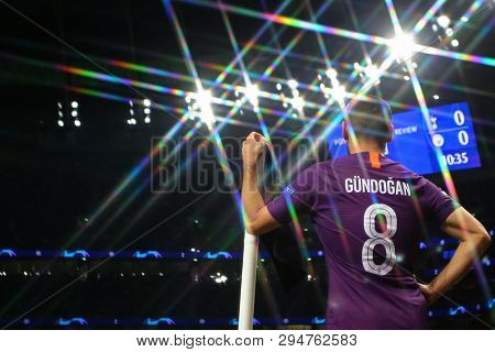 LONDON, ENGLAND: 09 MAR 2019. Ilkay Gundogan of Man City (Editors note, a filter has been used during the taking of this image) during the UEFA Champions League Quarter Final, First Leg match