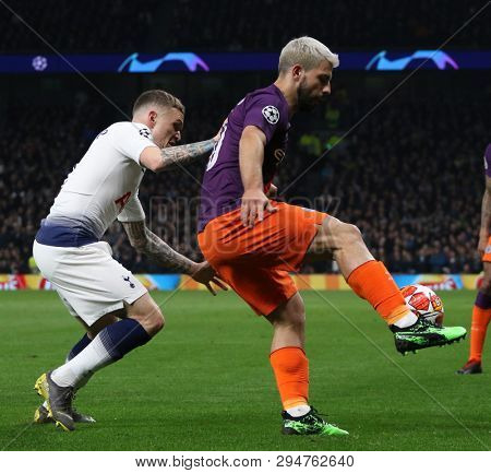 LONDON, ENGLAND: 09 MAR 2019. Kieran Trippier of Tottenham and Sergio Aguero of Man City compete for the ball during the UEFA Champions League Quarter Final, First Leg match