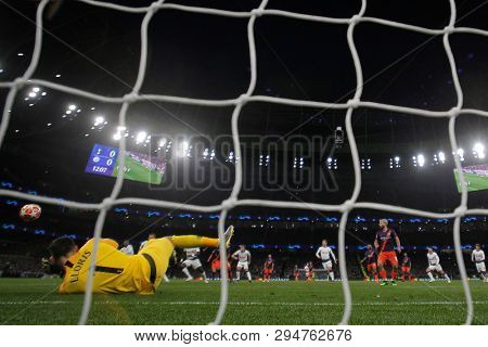 LONDON, ENGLAND: 09 MAR 2019. Hugo Lloris of Tottenham saves a penalty during the UEFA Champions League Quarter Final, First Leg match
