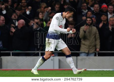LONDON, ENGLAND: 09 MAR 2019. Son Heung-Min of Tottenham celebrates scoring a goal during the UEFA Champions League Quarter Final, First Leg match