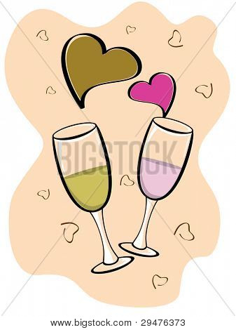 Valentine vector background with two glasses of wine and heart shapes in brown and magenta color.