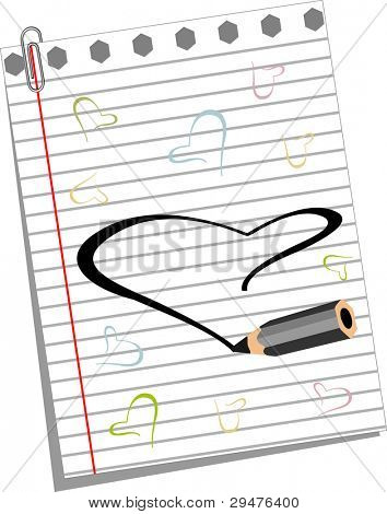 Vector illustration of pencil draws colorful  heart shapes on note book paper for Valentines Day and other occasions.