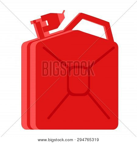 Red Jerrycan Flat Illustration. City Objects And Energy System Series.