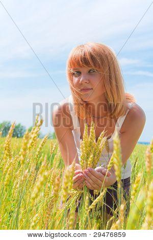 Beautiful Woman At Wheatfield
