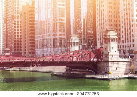 Bridge On Lasalle Blvd Over River In Chicago