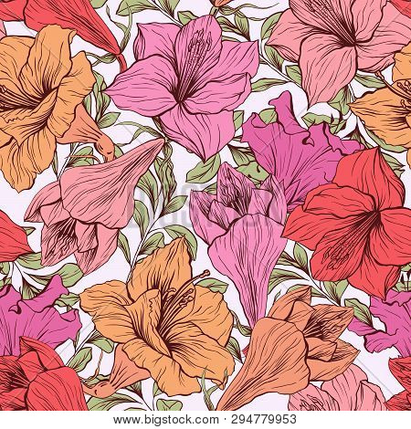 Amaryllis Hand Drawn Floral Pattern, Tropical Flower Vector Seamless Illustration. Hippeastrum Ink P