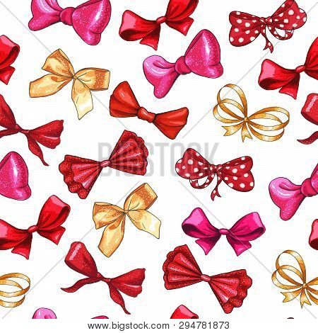 Bow Hand Drawn Vector Seamless Pattern. Golden Gradient, Red, Pink Ribbon Knots Illustration. Gift B