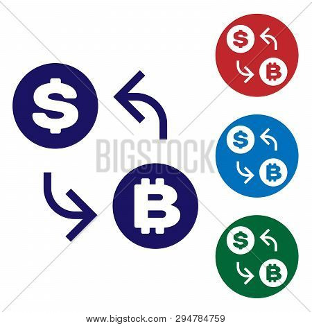 Blue Cryptocurrency Exchange Icon Isolated On White Background. Bitcoin To Dollar Exchange Icon. Cry
