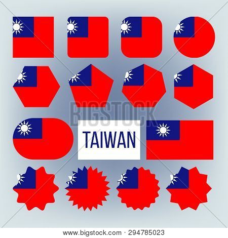 Taiwan Various Shapes Vector National Flags Set. Circle, Square, Rectangle Taiwan Ensign Pack. Repub