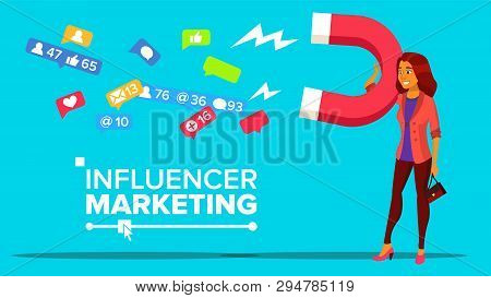 Influencer Digital Marketing Web Banner Vector Template. Influencer Online Targeting Advertising. So