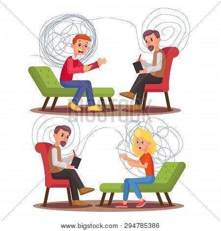 Psychiatry, Psychology Professional Consultation Vector Illustration Set. Psychiatry Therapy. Psychi