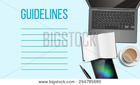 Guidelines Notepad Page Template With Text Space. Business, Education Guidelines Banner Layout. Work