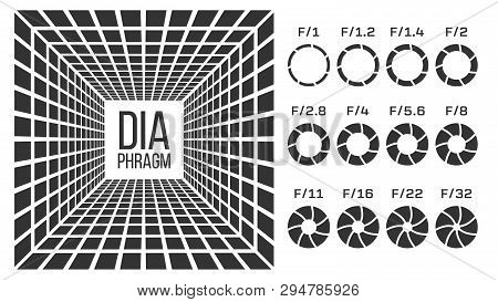Diaphragm, Lens Aperture Vector Monochrome Banner Template. Diaphragms With F Numbers Icons Set. Cam