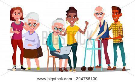 Caregivers, Volunteers, Grandparents, Grandkids Vector Cartoon Characters. Young Caregivers, Student