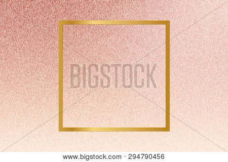 Gold square frame on a rose gold background