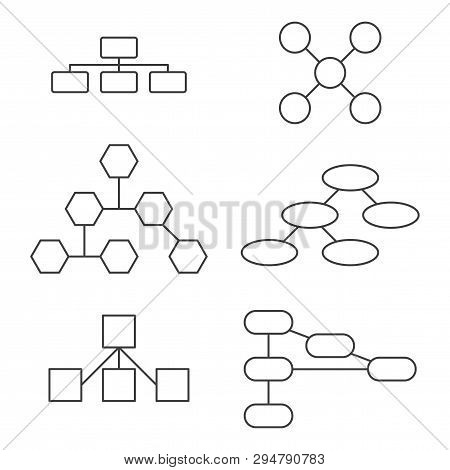 A set of variants for a hierarchical tree. Vector on white background. poster