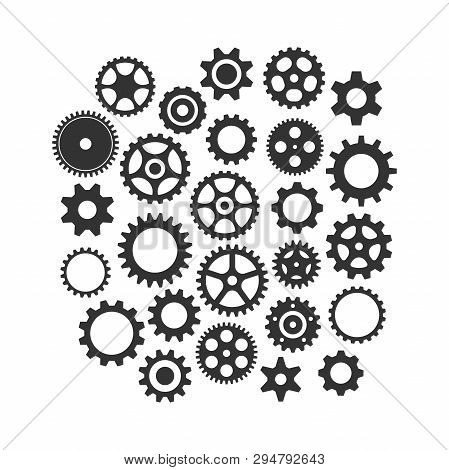Cog Wheels Gear Black Vector Icon Set. Cogwheel Gear Varios Isolated Icon Collection.