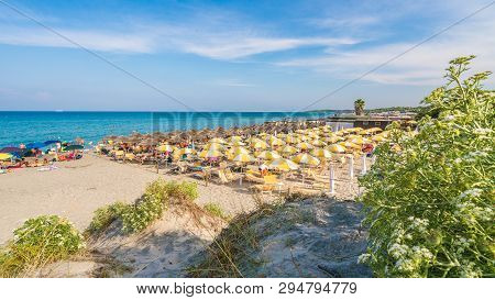 Otranto, Italy - July 20, 2017: Alimini Grande, Amazing Turquoise Water And Sandy Beaches Of Apulia,