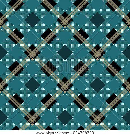 Cerulean Blue Lumberjack Buffalo Plaid Pattern Eps10