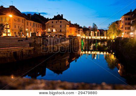 Ljubljana and river Ljubljanica by night - Slovenia