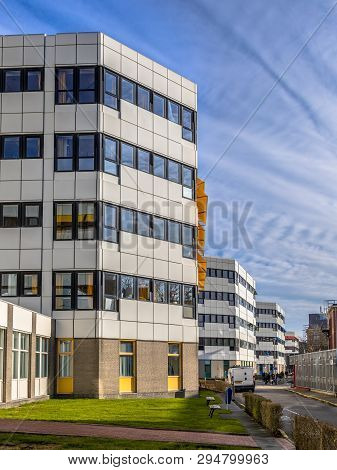 Groningen, Netherlands - February 2, 2017: Typical White And Black Hospital Buildings On A Row Under