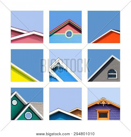 Collage of the colourful houses of the Magdalen Islands, or Les Iles de la Madeleine in Canada. The traditional houses are painted wood or shingles in vibrant tones.