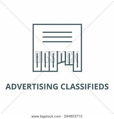Advertising Classifieds Line Icon, Vector. Advertising Classifieds Outline Sign, Concept Symbol, Fla