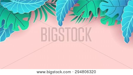 Summer Banner Or Poster Template. Vector Trendy Summer Background Design. Summer Season Holiday Desi