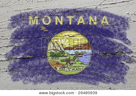 Flag Of Us State Of Montana On Grunge Wooden Texture Precise Painted With Chalk